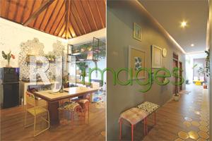 Area kitchen dengan konsep terbuka dan Lorong kamar dengan dekorasi unik