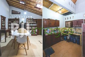Ruang makan dengan table set minimalis dan Area dapur dengan kitchen set kayu