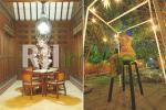Patung Bali pada teras rumah dan Instalasi seni patung di area taman