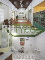 Penataan furnitur di kamar utama dan kamar mandi modern
